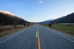 Beautiful scenic of asphalt highways of mount aspiring national. Park south island new zealand stock image