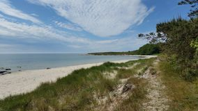 Beautiful sandy scenic beach, Island of Bornholm Denmark. Photo from raghammer beach in the south shore of the beautiful danish island of bornholm during the royalty free stock photos