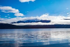 Beautiful scenic of blue sky white cloud of lake te anau most po Stock Image