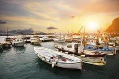 Beautiful scenic of capri island port important traveling destin Royalty Free Stock Photography