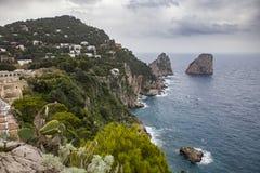 Beautiful scenic of capri island south italy mediterranean sea important traveling destination Royalty Free Stock Photo