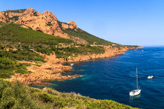 Beautiful Scenic Coastline on the French Riviera near Cannes Stock Images
