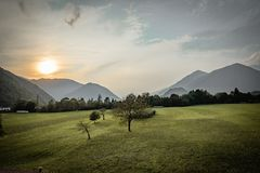 Free Beautiful Scenic Countryside In Tolmin, Julian Alps In The Back Royalty Free Stock Photo - 159707305