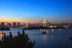 Beautiful scenic dusky time of rainbow bridge important landmark Stock Images