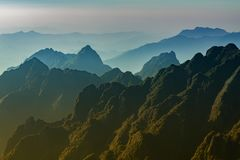Beautiful scenic of fansipan mountain peak in sapa lao cai north. Ern of vietnam Royalty Free Stock Photos