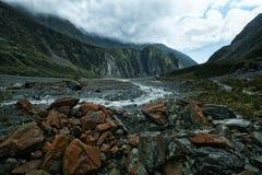 Beautiful scenic of franz josef glacier west coast new zealand stock photography
