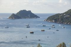 Beautiful scenic high angle view of koh tao and koh nangyuan in Stock Image
