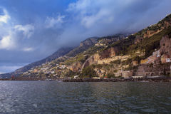 Beautiful scenic of home house and hotel on rock cliff in amalfi. Coast mediterranean sea south italy important traveling destination Royalty Free Stock Photo