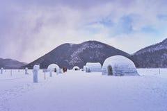 Beautiful scenic in Ice Igloo village at Shikaribetsu lake. In Obhiro city, Japan royalty free stock photo