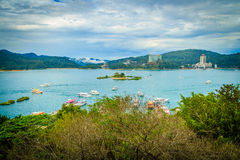 Beautiful scenic lake view of Sun Moon Lake from the entrance of Royalty Free Stock Photo