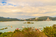Beautiful scenic lake view of Sun Moon Lake from the entrance of Royalty Free Stock Images