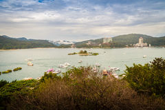 Beautiful scenic lake view of Sun Moon Lake from the entrance of. Xuanzang Temple in Nantou County of Taiwan royalty free stock images