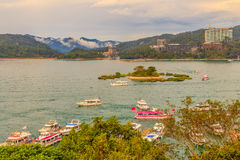 Beautiful scenic lake view of Sun Moon Lake from the entrance of. Xuanzang Temple in Nantou County of Taiwan stock photos