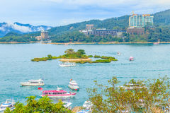 Beautiful scenic lake view of Sun Moon Lake from the entrance of. Xuanzang Temple in Nantou County of Taiwan stock image
