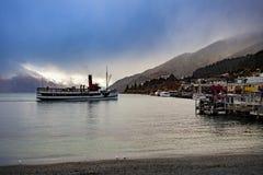Beautiful scenic of lake wakatipu queenstown new zealand stock photos