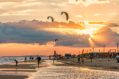 Beautiful scenic landscape of the Black sea coast with stormy sea and sandy Blaga beach. Summer seaside sunset Stock Images