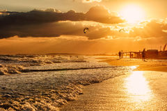 Beautiful scenic landscape of the Black sea coast with waves breaking on sandy Blaga beach and sun reflections. Summer seaside sce Royalty Free Stock Image