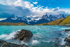 Beautiful scenic landscape at Lake Pehoe and Cuernos del Paine Mountains royalty free stock photography