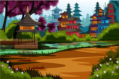 Beautiful scenic landscape of rural China. Vector illustration of beautiful scenic landscape of rural China stock illustration