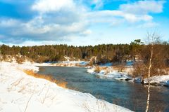 River Under Dramatic Sky With Clouds In Sunny Day In Winter. Royalty Free Stock Photos