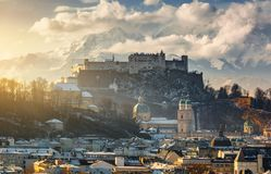 Beautiful scenic landscape in winter, Salzburg Royalty Free Stock Image