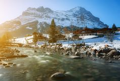 Beautiful scenic landscape in winter, Switzerland Royalty Free Stock Photo