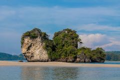 Beautiful scenic limestone island in Krabi, Thailand. Limestone cliff in Krabi, Thailand. Beautiful paradise view scenic coastline Phi Phi island and natural royalty free stock photo