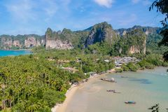 Beautiful scenic limestone islands bay at Phi Phi in Krabi, Thailand. Limestone cliff in Krabi, Thailand. Beautiful paradise view scenic coastline Phi Phi Stock Images