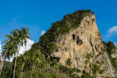 Beautiful scenic limestone at Phi Phi in Krabi, Thailand. Limestone cliff in Krabi, Thailand. Beautiful paradise view scenic coastline Phi Phi island and Stock Photo