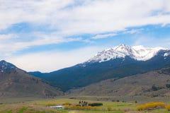 Snow covered Montana mountains royalty free stock photos