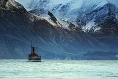 Beautiful scenic of old steam engine boat in wakatipu lake queen Stock Images