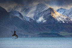 Beautiful scenic of old steam engine boat in wakatipu lake queen Stock Photo