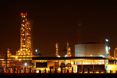 Beautiful scenic of petrochemical factory in early night light Stock Images