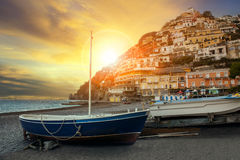 Beautiful scenic of positano beach sorrento town south italy imp Royalty Free Stock Images