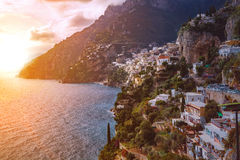 Beautiful scenic of positano town mediterranean coast line south. Italy important traveling destination royalty free stock photo