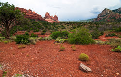 Beautiful scenic red sandstone rock landscape Royalty Free Stock Photo
