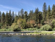 Beautiful scenic river view in early fall royalty free stock photos