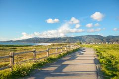 Beautiful scenic road on the green bluff above the ocean beach Royalty Free Stock Image