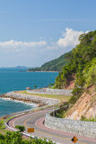 Beautiful scenic route on coast along blue sea Royalty Free Stock Photo