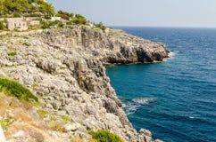 Beautiful scenic seascape at Ciolo Bridge, Salento, Apulia, Ital Royalty Free Stock Images