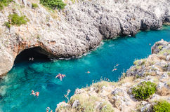 Beautiful scenic seascape at Ciolo Bridge, Salento, Apulia, Ital Royalty Free Stock Photography