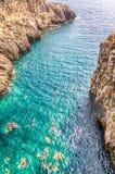 Beautiful scenic seascape at Ciolo Bridge, Salento, Apulia, Ital Royalty Free Stock Image