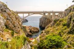 Beautiful scenic seascape at Ciolo Bridge, Salento, Apulia, Ital Stock Images