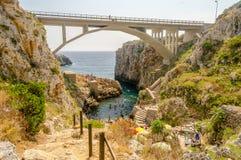 Beautiful scenic seascape at Ciolo Bridge, Salento, Apulia, Ital Stock Photo