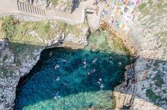 Beautiful scenic seascape at Ciolo Bridge, Salento, Apulia, Ital Stock Image