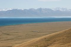 The beautiful scenic at Song kul lake ,  Naryn with the Tian Shan mountains of Kyrgyzstan. Beautiful scenic at Song kul lake ,  Naryn with the Tian Shan Royalty Free Stock Image