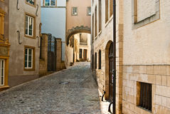 Beautiful scenic street in Luxembourg. A Beautiful scenic street in Luxembourg Royalty Free Stock Images