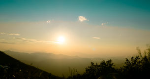 Beautiful scenic sunset in Hills Stock Images