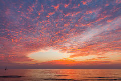 Beautiful scenic sunset landscape at sea ocean water Royalty Free Stock Photography