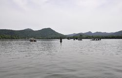 Scenic view area of the famous West Lake from Hangzhou. Beautiful scenic view area with cruise boats on from the West Lake in Hangzhou on 3rd may 2018 stock images